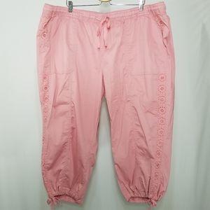 Lane Bryant Pant Utility Lace Tie Capri Pull On 28
